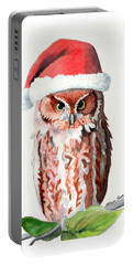 Portable Battery Charger featuring the painting Santa Owl by LeAnne Sowa