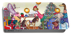 Portable Battery Charger featuring the painting Santa's Giftwrapper by Katherine Miller