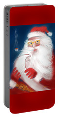 Portable Battery Charger featuring the painting Santa's List by Jean Pacheco Ravinski