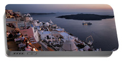 Santorini At Dusk Portable Battery Charger by David Smith