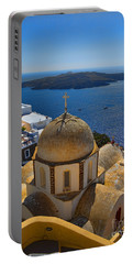 Santorini Caldera With Church And Thira Village Portable Battery Charger