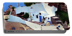 Santorini Cave Homes Portable Battery Charger by Mike Robles