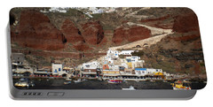 Santorini  Island  View To Oia Greece Portable Battery Charger