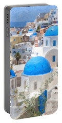 Santorini Oil Painting Portable Battery Charger
