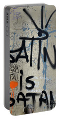 Portable Battery Charger featuring the photograph 'satin Is Satan' Graffiti - Bucharest Romania by Imran Ahmed