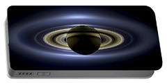 Saturn Mosaic With Earth Portable Battery Charger by Adam Romanowicz