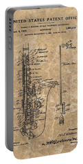 Saxophone Patent Design Illustration Portable Battery Charger by Dan Sproul
