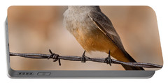 Say's Phoebe On A Barbed Wire Portable Battery Charger