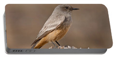 Say's Phoebe On A Fence Post Portable Battery Charger