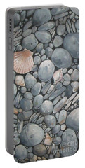 Scallop Shell And Black Stones Portable Battery Charger