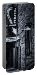 Scat Lounge In Cool Black And White Portable Battery Charger by Joan Carroll