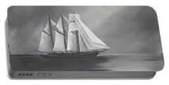 Portable Battery Charger featuring the painting Schooner Moon by Virginia Coyle
