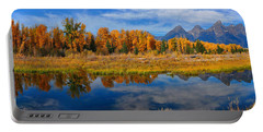 Portable Battery Charger featuring the photograph Schwabacher Autumn Reflections Panorama by Greg Norrell