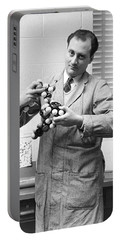 Scientist With Molecule Model Portable Battery Charger