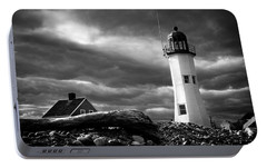 Portable Battery Charger featuring the photograph Scituate Lighthouse Under A Stormy Sky by Jeff Folger