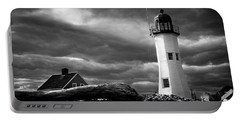 Scituate Lighthouse Under A Stormy Sky Portable Battery Charger by Jeff Folger