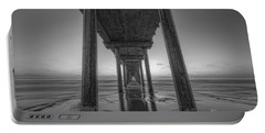 Scripps Pier Sunset Bw Portable Battery Charger