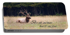 Scripture Photo With Elk Sitting Portable Battery Charger