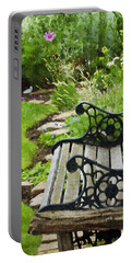 Scroll Bench Garden Scene Digital Artwork Portable Battery Charger