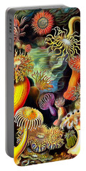 Portable Battery Charger featuring the painting Sea Anemones by Ernst Haeckel