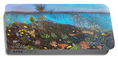 Portable Battery Charger featuring the painting Sea Assault by Karen Zuk Rosenblatt