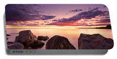 Sea At Sunset The Sky Is In Beautiful Dramatic Color Portable Battery Charger