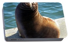 Portable Battery Charger featuring the photograph Sea Lion Basking In The Sun by Chalet Roome-Rigdon