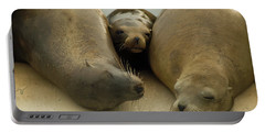 Sea Lions Rest On A Buoy Off The Coast Portable Battery Charger