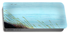 Portable Battery Charger featuring the drawing Sea Oats In The Wind Drawing by D Hackett