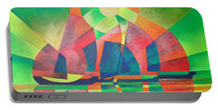 Portable Battery Charger featuring the painting Sea Of Green by Tracey Harrington-Simpson