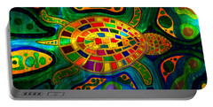 Sea Turtle - Abstract Ocean - Native Art Portable Battery Charger