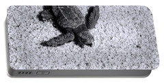 Sea Turtle In Black And White Portable Battery Charger