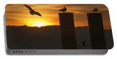 Seagull In The Sunset Portable Battery Charger by Chevy Fleet