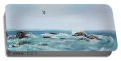 Seagull Over The Ocean Portable Battery Charger by Asha Carolyn Young