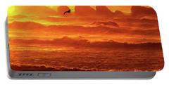 Portable Battery Charger featuring the photograph Seagull Soaring Over The Surf At Sunset Oregon Coast by Dave Welling