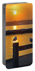 Seaguls At Sunset Portable Battery Charger