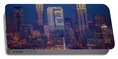 Seahawks 12th Man Seattle Skyline At Dusk Portable Battery Charger