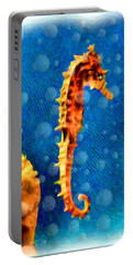 Portable Battery Charger featuring the digital art Seahorse by Daniel Janda