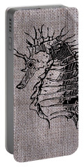 Seahorse On Burlap Portable Battery Charger