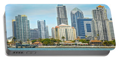 Seaport Village And Downtown San Diego Buildings Portable Battery Charger by Claudia Ellis