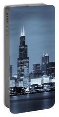 Portable Battery Charger featuring the photograph Sears Tower In Blue by Sebastian Musial