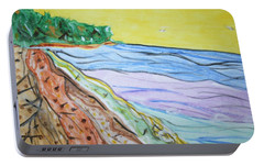 Portable Battery Charger featuring the painting Seashore Bright Sky by Stormm Bradshaw