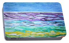 Portable Battery Charger featuring the painting Seashore Blue Sky by Stormm Bradshaw