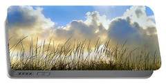 Seaside Grass And Clouds Portable Battery Charger
