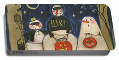 Seasonal Snowman X Portable Battery Charger by Anne Tavoletti