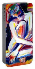 Portable Battery Charger featuring the painting Seated Lady by Helena Wierzbicki