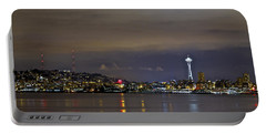 Seattle Cityscape At Night Portable Battery Charger
