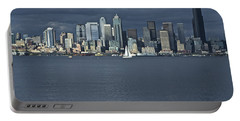 Seattle Cityscape From Alki Beach Portable Battery Charger