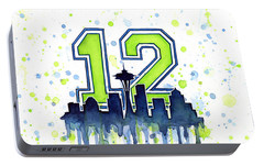 Seattle Seahawks 12th Man Art Portable Battery Charger by Olga Shvartsur