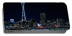 Seattle Skyline At Night With Full Moon Portable Battery Charger